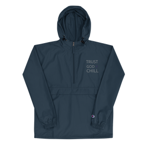 Trust God + Chill Embroidered Champion Packable Jacket