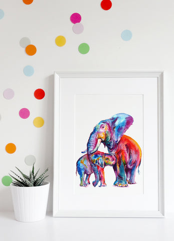 Watercolor parent and child elephants with multi-color polka dotted wall