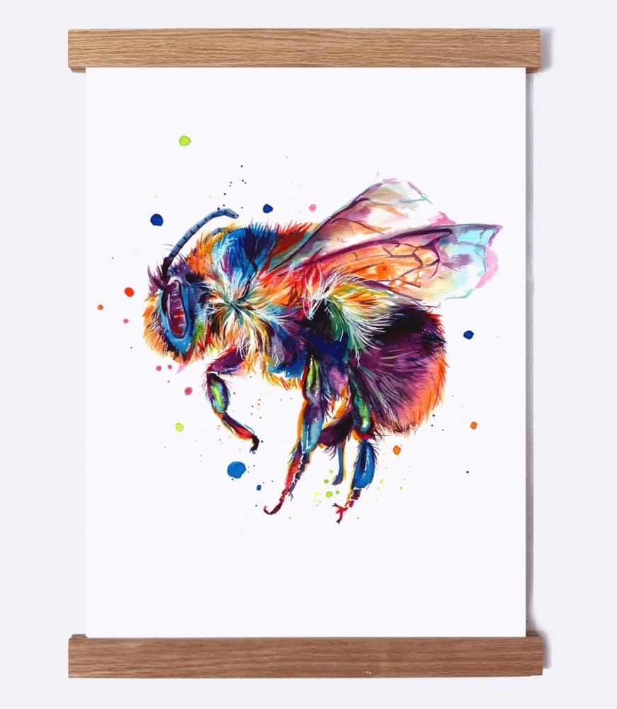 Bee (Honey bee) on White - Watercolor Print - Shaunna Russell