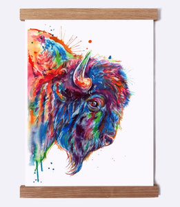 Buffalo Profile - Watercolor Print - Shaunna Russell