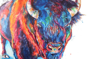 Buffalo Watercolor Original Painting - Shaunna Russell