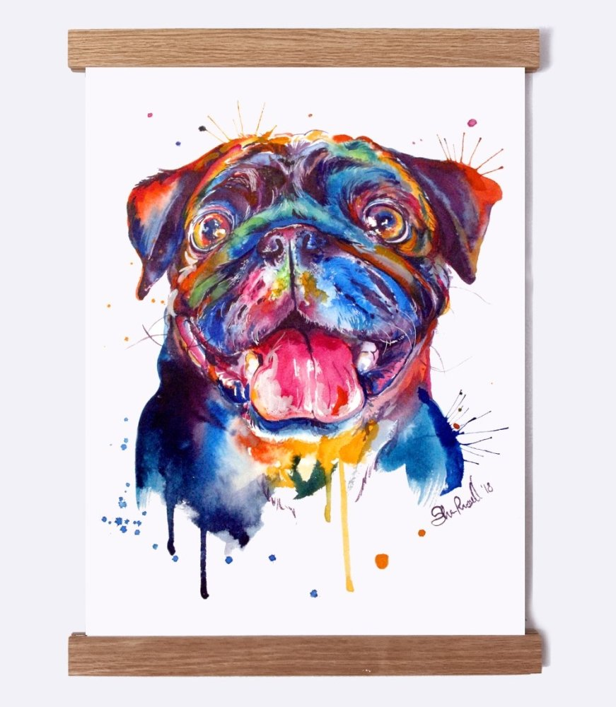 Pug (Black) - Watercolor Print - Shaunna Russell