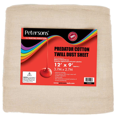 Petersons Predator Cotton Twill Dust Sheet 12ft x 9ft