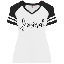 "Load image into Gallery viewer, ""Forward""District Ladies' Game V-Neck T-Shirt"