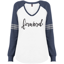 "Load image into Gallery viewer, ""Forward""District Made Ladies' Game LS V-Neck T-Shirt"