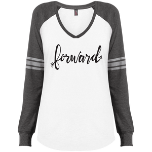 """Forward""District Made Ladies' Game LS V-Neck T-Shirt"