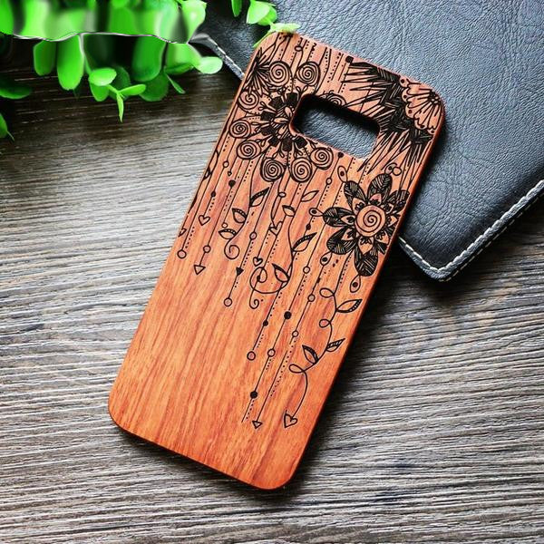 Flower Wood Case For Samsung