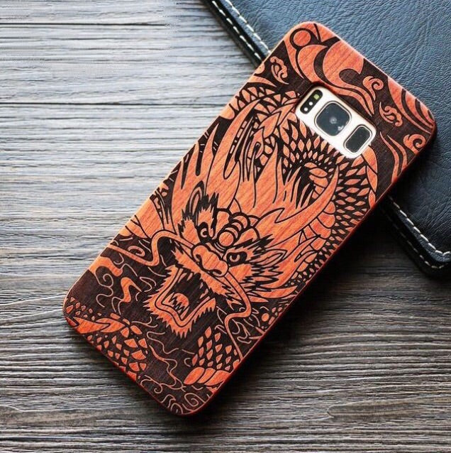 Wooden Phone Case for Samsung, Carved Wooden Design, Wooden iPhone Case