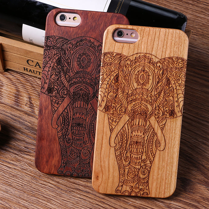 double elephant dark and light wood case