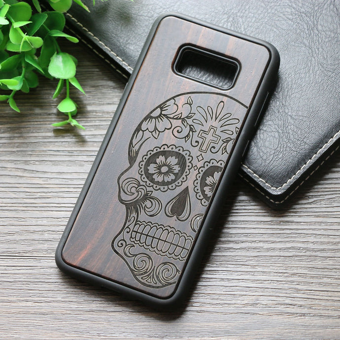 Dark walnut skull wood case