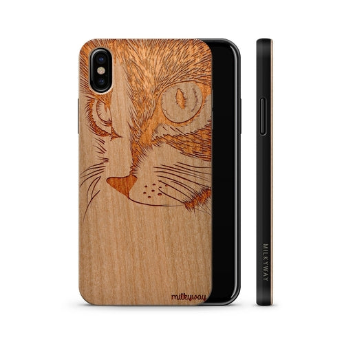 Cat Phone Case, Handmade Wooden Phone