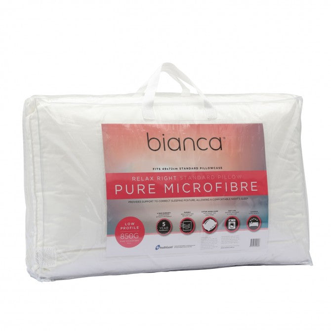 Bianca Relax Right Pure Microfibre Pillow Low Profile
