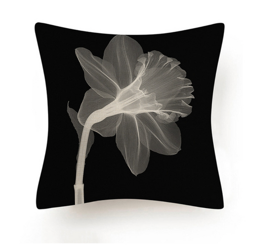 Black and White Abstract Flower Cushion III