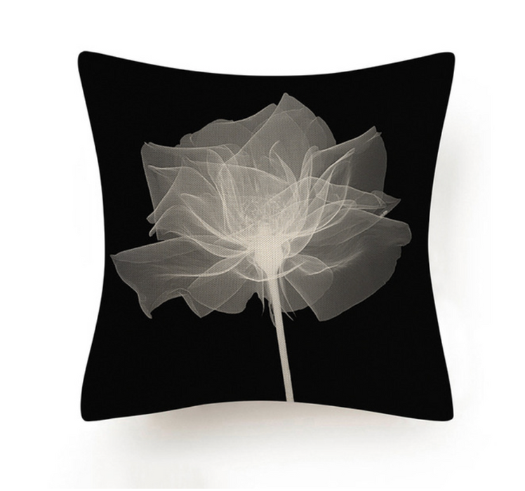 Black and White Abstract Flower Cushion V