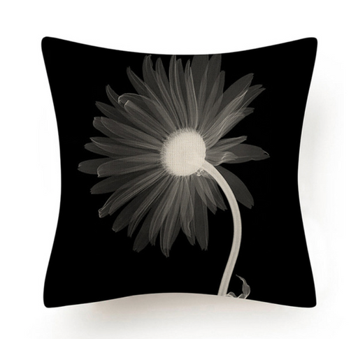 Black and White Abstract Flower Cushion VII