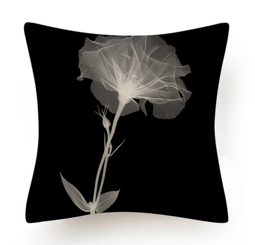 Black and White Abstract Flower Cushion II