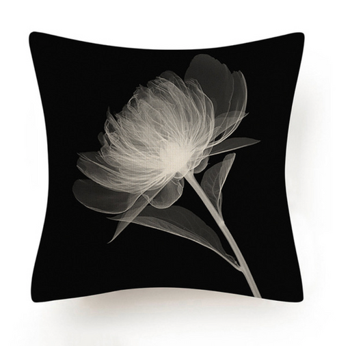 Black and White Abstract Flower Cushion VI