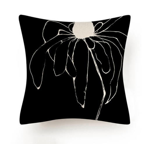 Black and White Abstract Flower Cushion
