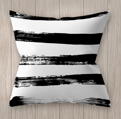 Black and White Horizontal Line Cushion