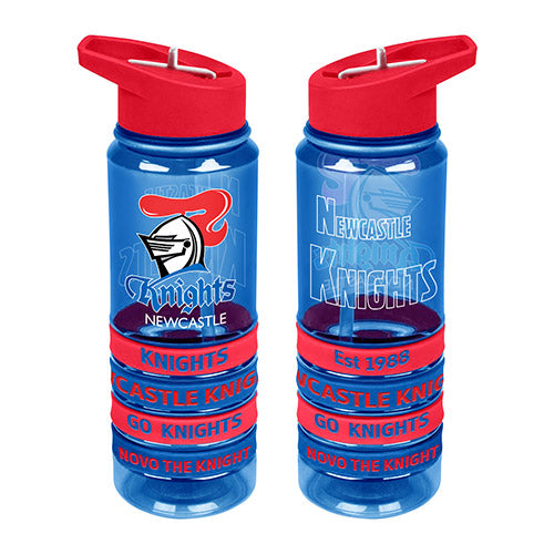 Newcastle Knights Tritan Drink Bottle with 4 Wrist Bands