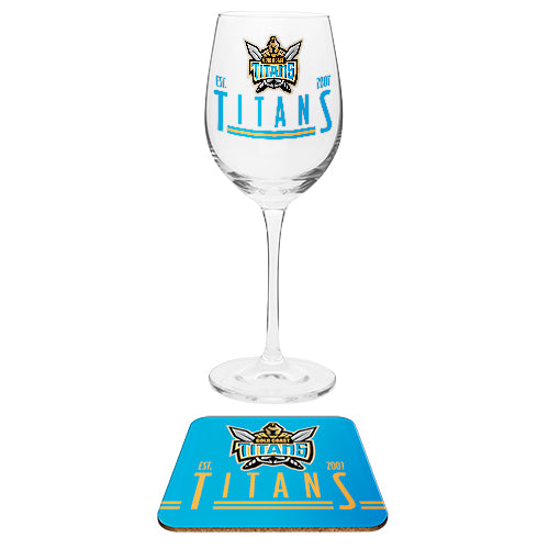 Gold Coast Titans Wine Glass & Coaster Set