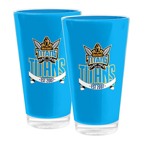 Gold Coast Titans Set Of 2 Plastic Tumblers