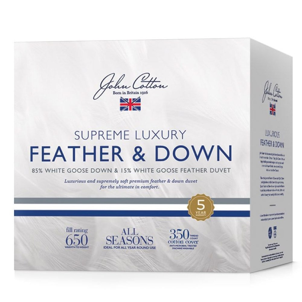 John Cotton Supreme Luxury 85% White Goose Down & Feather Quilt