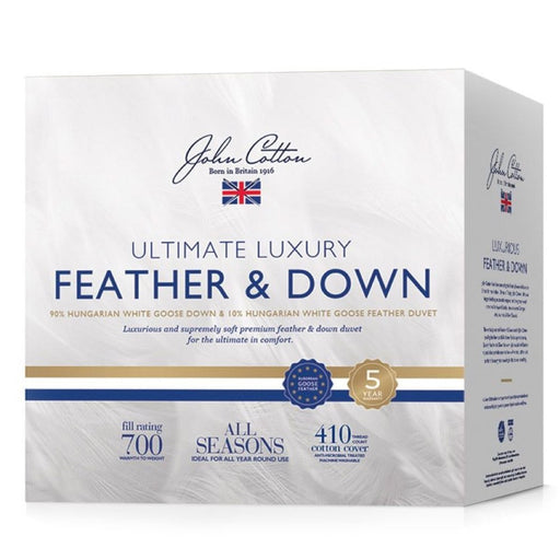 John Cotton Ultimate Luxury 90% Hungarian White Goose Down & Feather Quilt