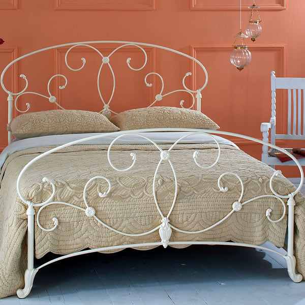 Aroona Cast Bed - Queen Size Glossy Ivory