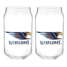 West Coast Eagles Can Shaped Glasses - set of 2
