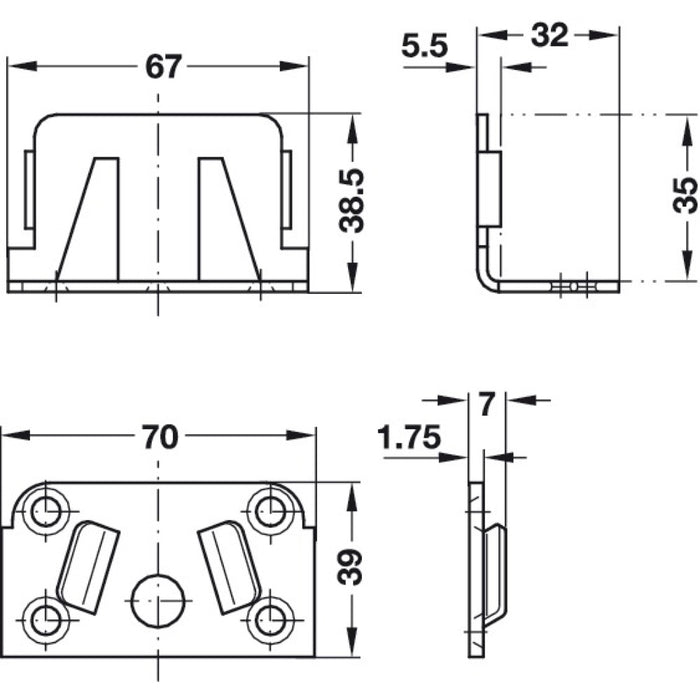 Centre Bed Rail Fitting Dimensions