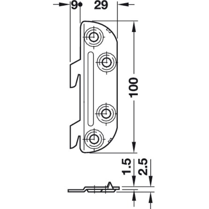 Cranked Hook Metal Bed Fitting Dimensions