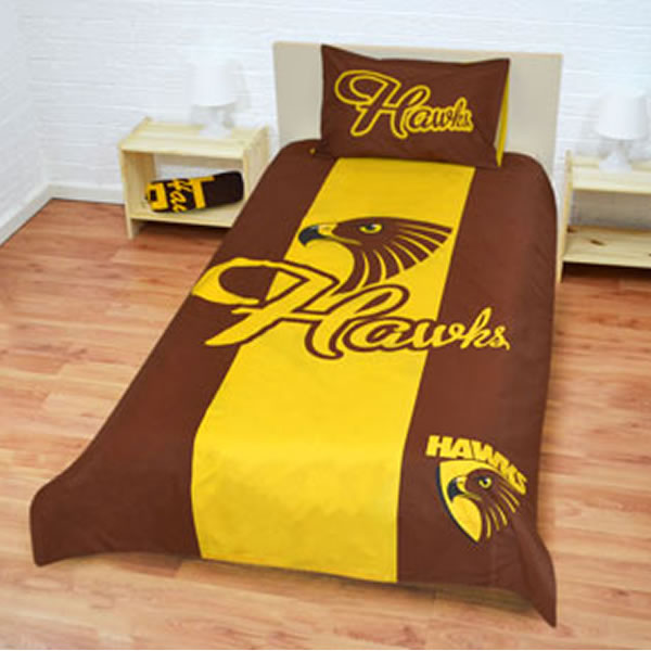Hawthorn Hawks Quilt Cover - Single Size