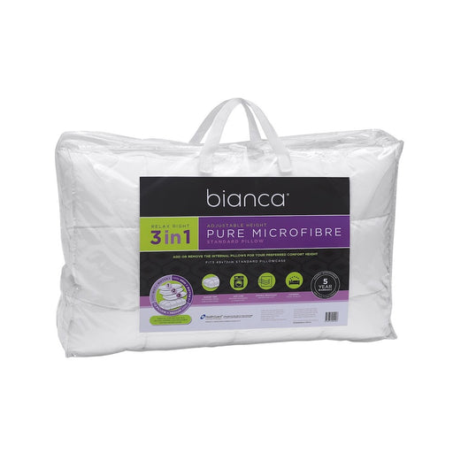 Bianca Relax Right Pure Microfibre 3 In 1 Adjustable Pillow