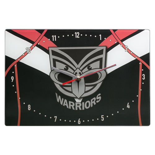 New Zealand Warriors Glass Clock