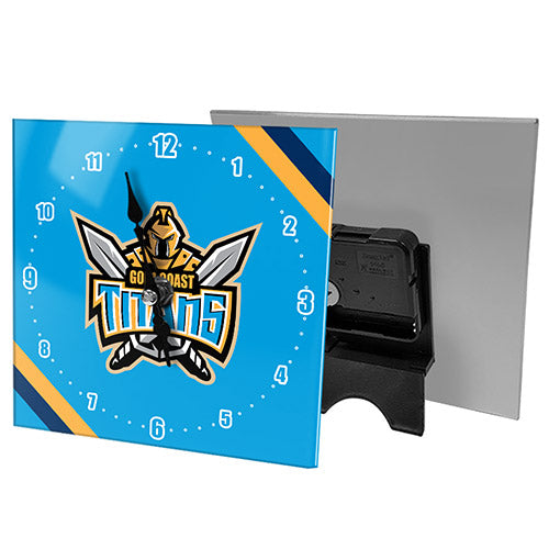 Gold Coast Titans Mini Glass Clock