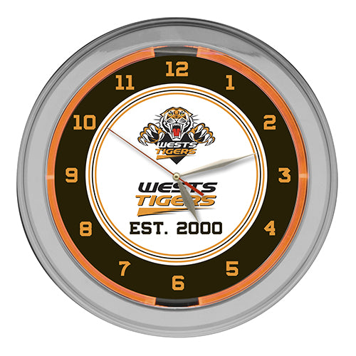 Wests Tigers Neon Clock