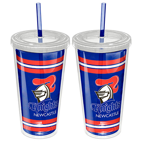 Newcastle Knights Plastic Tumbler With Straw