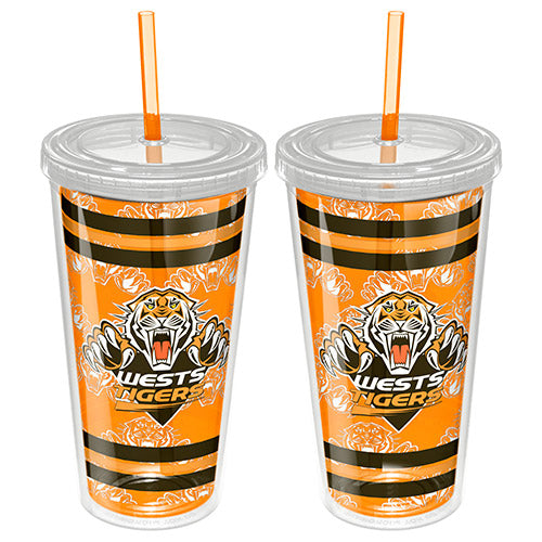 Wests Tigers Plastic Tumbler With Straw