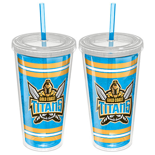 Gold Coast Titans Plastic Tumbler With Straw
