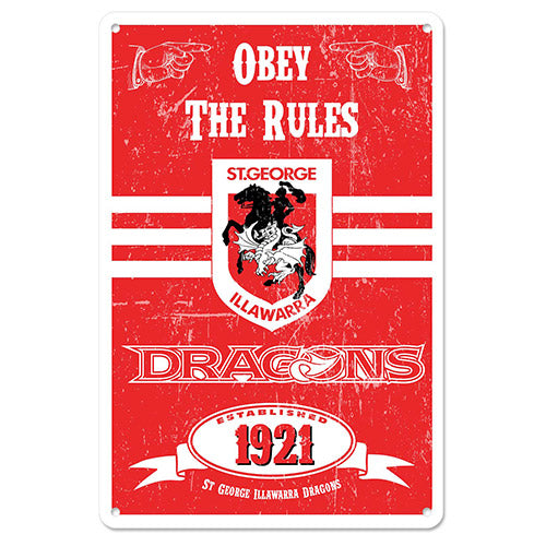 St George Illawarra Dragons Metal Sign