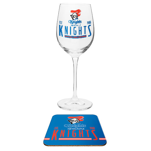 Newcastle Knights Wine Glass
