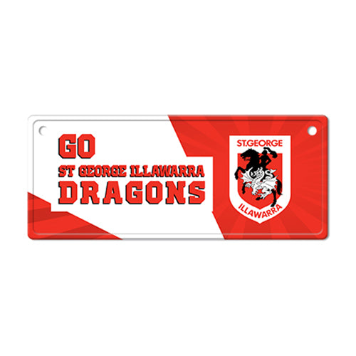 St George Illawarra Dragons Licence Plate Sign