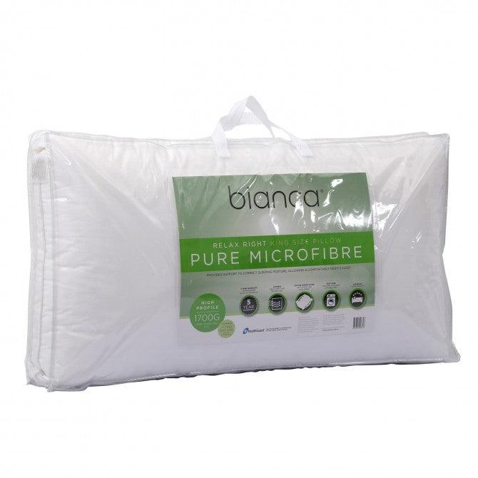 Bianca Relax Right Pure Microfibre Pillow King Size