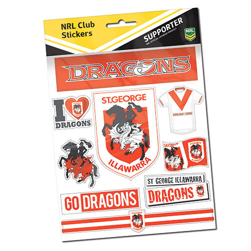 St George Illawarra  Dragons Sticker Sheet