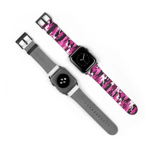 Pink & White Camo Camouflage Military Army Print 38 mm or 42 mm Premium Best Printed Designer Top Quality Faux Leather Comfortable Elegant Minimalist Smart Watch Band Strap, Suitable for Apple Watch Series   Smart