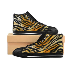 mens tiger skin pattern high top sneakers