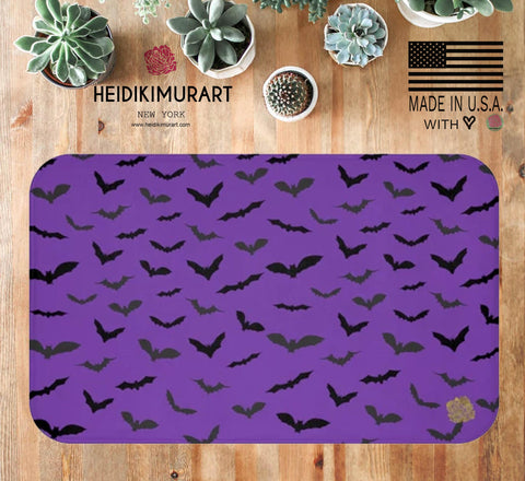purple bats bath mat halloween party