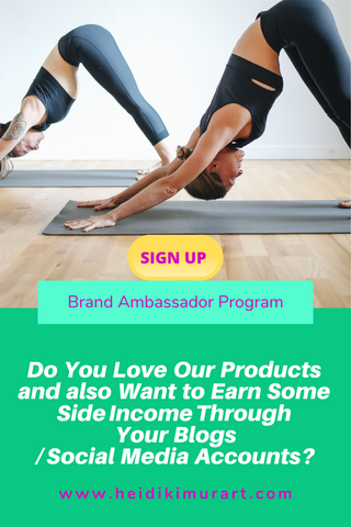 Brand Ambassador Program Heidi's Affiliates The Heidikimurart Brand Ambassador Program is designed to create, foster, and grow a global fitness artistic community of sports lovers and stylish beautiful people. We wish to use our high art and designer apparel and home decor to enrich people's lives with the intention to create more awareness of health, mindfulness/ wellness, and fitness. Want to earn some side income with your blog or social media accounts? Sign up for our Affiliate Program Today!
