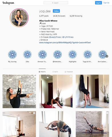 ntroducing Ms. Dina Cassir!   We met Dina on Instagram and she is a professional yoga teacher in Duabi. Not only is Dina an aerial yoga and pilates teacher, she's also a mom of 2 boys and massively successful Instagram Influencer with over highly engaged 14.3k Instagram followers on her Instagram account and is also active on many other social media platforms.